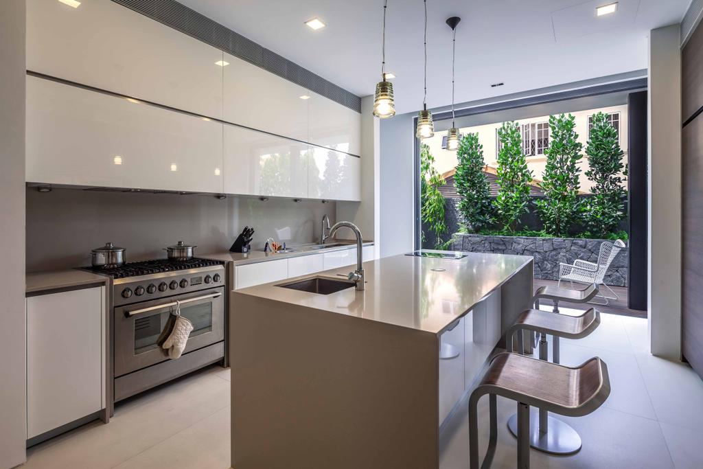 Modern, Landed, Kitchen, Bukit Timah (Far Sight House), Architect, Wallflower Architecture + Design, Hanging Bulbs, Hanging Light, Kitchen Table, Kitchen Chairs, White Cabinet, Recessed Light, Sink, Dining Table, Furniture, Table, Indoors, Interior Design, Room, Chair