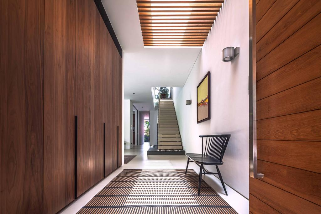 Modern, Landed, Bukit Timah (Far Sight House), Architect, Wallflower Architecture + Design, Wooden Wall, False Ceiling, Wall Lights, Chair, Furniture, Banister, Handrail, Staircase, Corridor