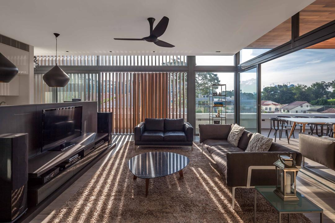 Bukit Timah (Far Sight House), Wallflower Architecture + Design, Modern, Living Room, Landed, Ceiling Fan, Black Ceiling Fan, Coffee Table, Carpeting, Sofa, Tv Console, Chair, Furniture, Appliance, Electrical Device, Oven, Dining Table, Table