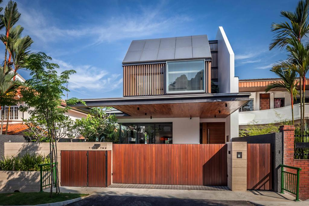 Modern, Landed, Bukit Timah (Far Sight House), Architect, Wallflower Architecture + Design, Exterior View, Building Shelter, Brown Gate Doors, Gate Doors, Brown Gates, Arecaceae, Flora, Palm Tree, Plant, Tree, Shipping Container, Building, House, Housing, Villa, Fence