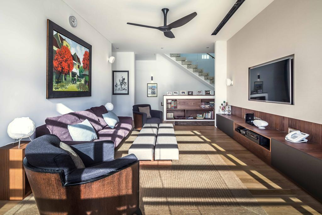 Modern, Landed, Living Room, Bukit Timah (Far Sight House), Architect, Wallflower Architecture + Design, Ceiling Fan, Portrait, Wall Portrait, Wooden Tv Console, Tv Consol, Wooden, Chairs, Sofa, Art
