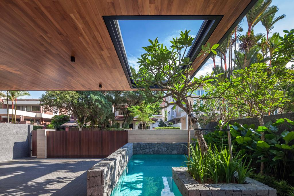 Modern, Landed, Bukit Timah (Far Sight House), Architect, Wallflower Architecture + Design, Brown Ceiling, Trees, Planted Plants, Pond, Small Pond, Concrete, Flora, Jar, Plant, Potted Plant, Pottery, Vase, Backyard, Outdoors, Yard
