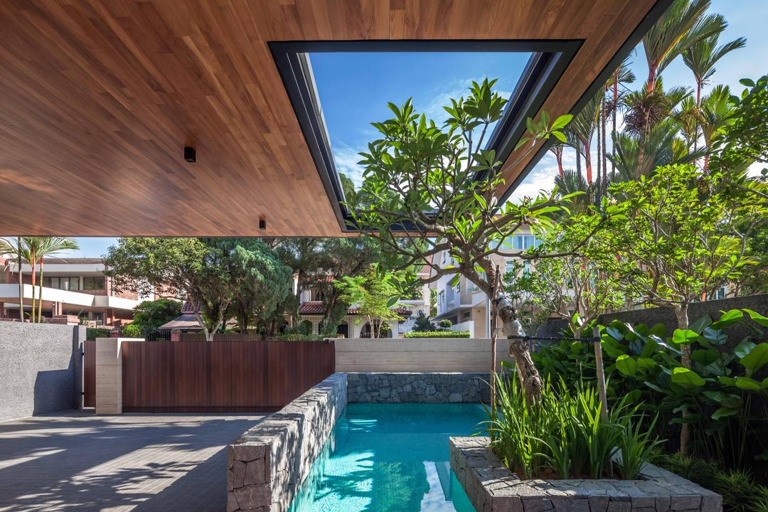 Bukit Timah (Far Sight House), Wallflower Architecture + Design, Modern, Landed, Brown Ceiling, Trees, Planted Plants, Pond, Small Pond, Concrete, Flora, Jar, Plant, Potted Plant, Pottery, Vase, Backyard, Outdoors, Yard