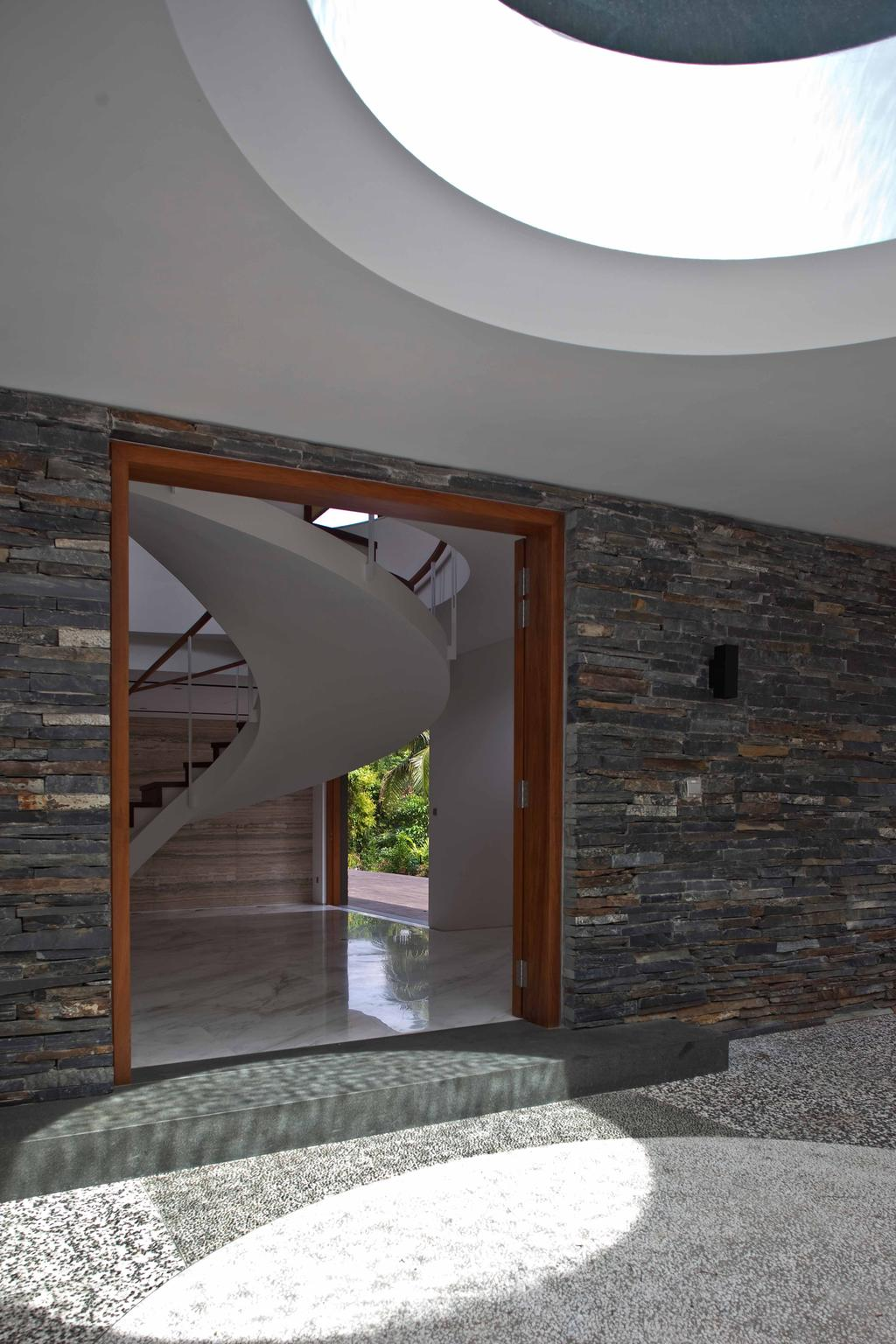 Contemporary, Landed, Bukit Timah (Water-Cooled House), Architect, Wallflower Architecture + Design, Curve Stairway, Twisted Stairway, Concrete Flooring, Brick Walls, Grey Wall, Gray Wall, Banister, Handrail, Staircase, Brick