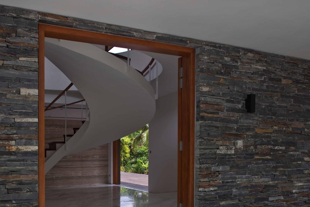 Bukit Timah (Water-Cooled House), Wallflower Architecture + Design, Contemporary, Landed, Curve Stairway, Twisted Stairway, Concrete Flooring, Brick Walls, Grey Wall, Gray Wall, Banister, Handrail, Staircase, Brick
