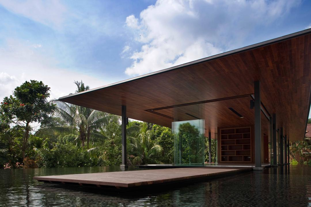 Bukit Timah (Water-Cooled House), Wallflower Architecture + Design, Contemporary, Landed, Water Platform, Trees, Wooden Platform, Wooden Overhead, Overhead Shelter, Wooden Shelter, Wooden Overhead Shelter, Flora, Jar, Plant, Potted Plant, Pottery, Vase