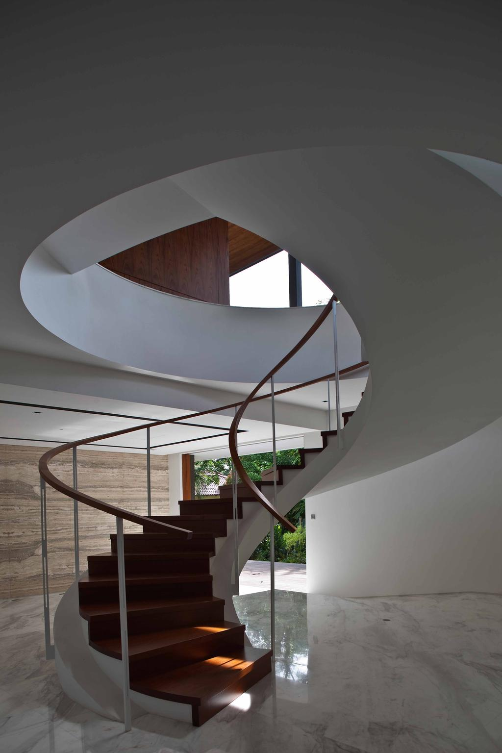 Contemporary, Landed, Bukit Timah (Water-Cooled House), Architect, Wallflower Architecture + Design, Curve Stairway, Twisted Stairway, Marble Flooring, Wooden Steps, Brown Steps, Brown Stairway Railing, Brown Railing, Railing