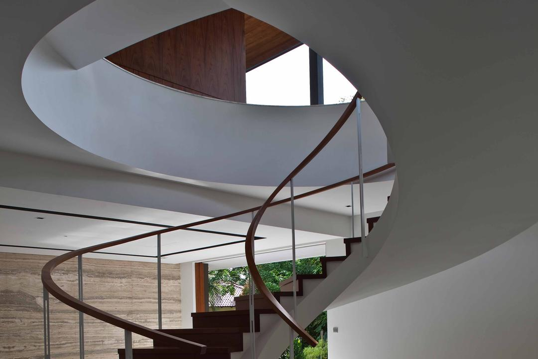 Bukit Timah (Water-Cooled House), Wallflower Architecture + Design, Contemporary, Landed, Curve Stairway, Twisted Stairway, Marble Flooring, Wooden Steps, Brown Steps, Brown Stairway Railing, Brown Railing, Railing