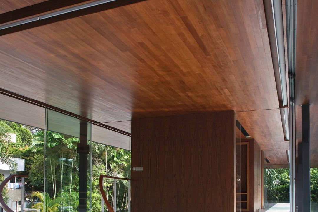 Bukit Timah (Water-Cooled House), Wallflower Architecture + Design, Contemporary, Landed, Wooden Ceiling, Water Surrounded Platform, Floating Platform, Wooden Partitions, Stairway, Hardwood, Wood