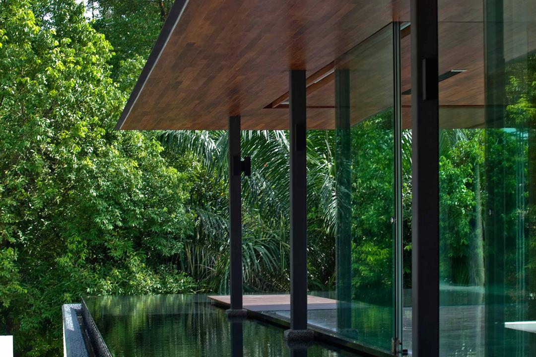 Bukit Timah (Water-Cooled House), Wallflower Architecture + Design, Contemporary, Landed, Wooden Shelter, Wooden Overhead Shelter, Overhead Shelter, Water Surrounded Platform