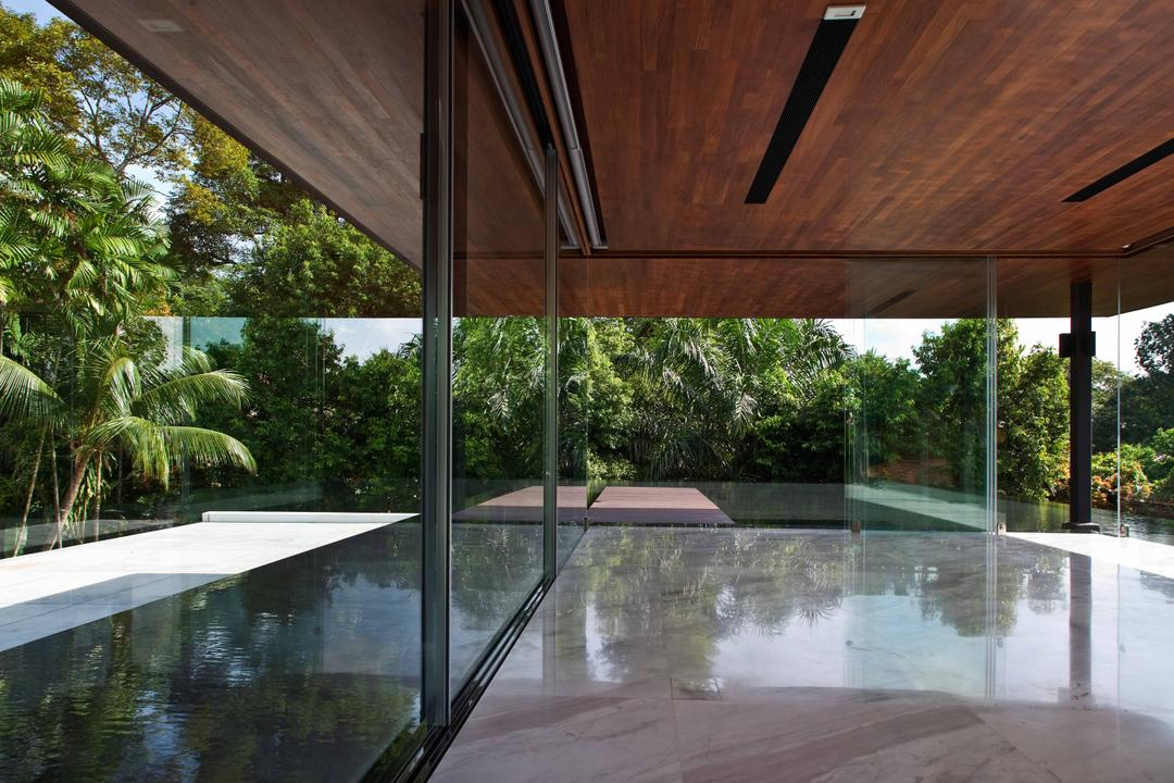 Bukit Timah (Water-Cooled House), Wallflower Architecture + Design, Contemporary, Landed, Wooden Shelter, Wooden Overhead Shelter, Overhead Shelter, Flora, Jar, Plant, Potted Plant, Pottery, Vase, Pool, Water