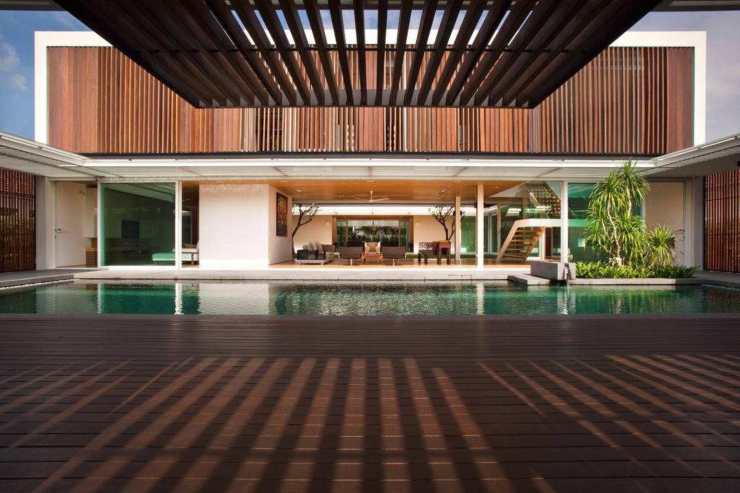 East Coast (Enclosed Open House), Wallflower Architecture + Design, Contemporary, Landed, Wooden, Wooden Flooring, Beam Shelter, Private Pool, Indoor, Indoor Pool, House Pool, Building, House, Housing, Villa
