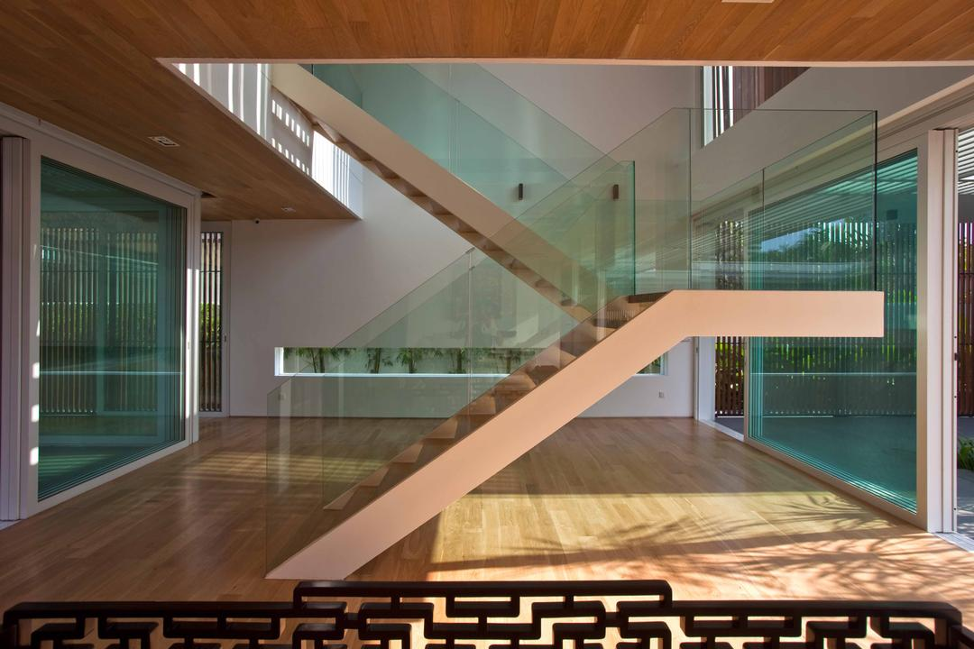 East Coast (Enclosed Open House), Wallflower Architecture + Design, Contemporary, Landed, Wooden Flooring, Glass Stair Railing, Stair Railing, Glass Railing, Wooden Ceiling, Warm Wood