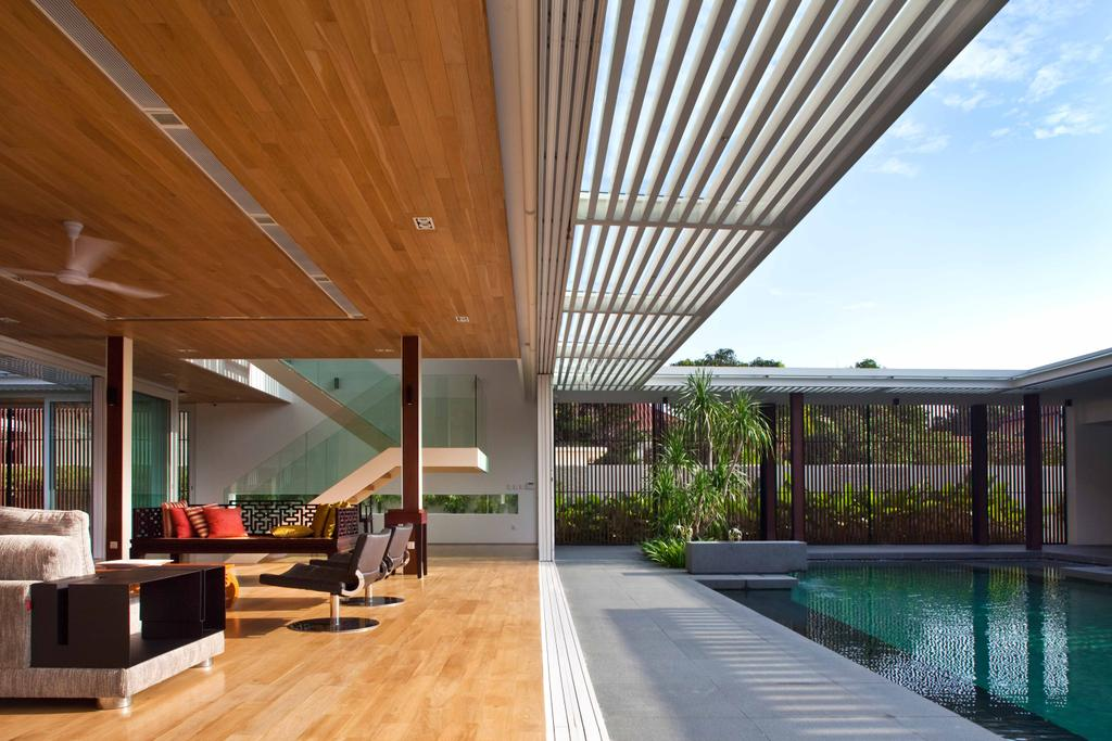 Contemporary, Landed, East Coast (Enclosed Open House), Architect, Wallflower Architecture + Design, Shelter, Indoor Pool, Pool, House Pool, Private Pool, Wooden Flooring, Wooden Ceiling, Furnishings