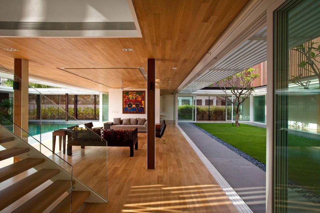 Contemporary, Landed, East Coast (Enclosed Open House), Architect, Wallflower Architecture + Design, Wooden Flooring, Wooden Ceiling, Grass Patch, Wooden Beams, Stairway, Wooden Step, Couch, Furniture, Porch, Indoors, Room