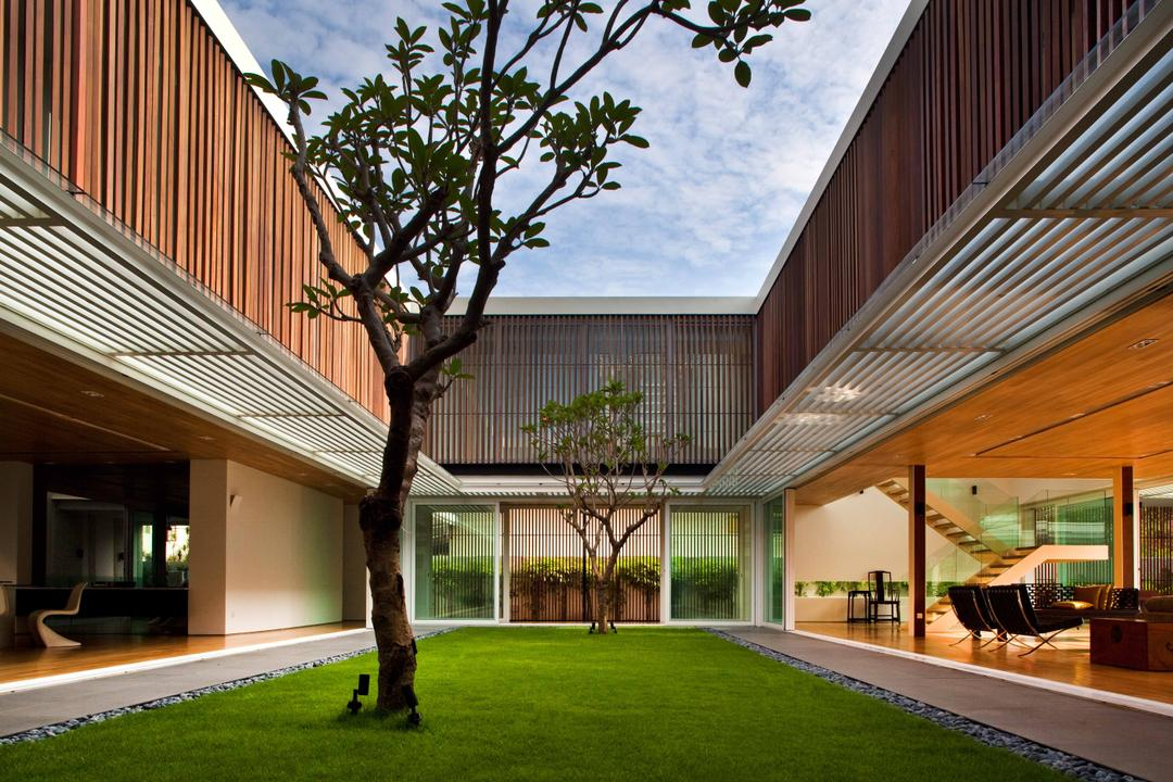 East Coast (Enclosed Open House), Wallflower Architecture + Design, Contemporary, Landed, Tree, Planted Tree, Grass, Grass Patch, Wooden Structure