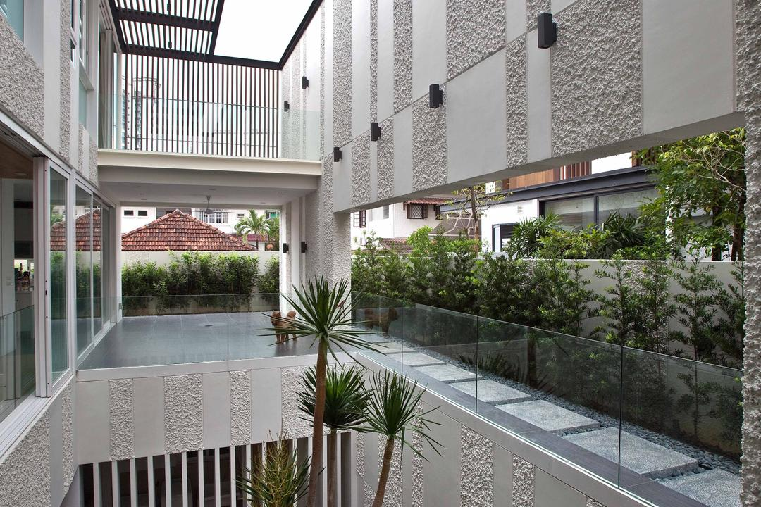 East Coast (Enclosed Open House), Wallflower Architecture + Design, Contemporary, Landed, Grey Walls, Gray Walls, Glass Barricades, Arecaceae, Flora, Palm Tree, Plant, Tree, Jar, Potted Plant, Pottery, Vase