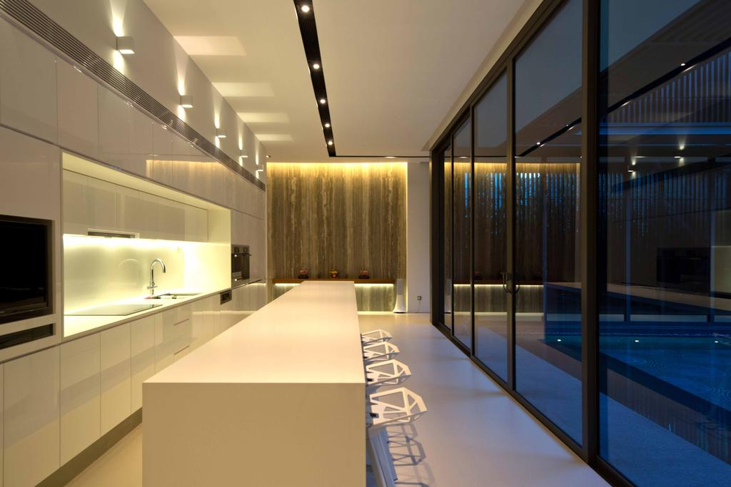 Modern, Landed, East Coast Parkway (Centennial Tree House), Architect, Wallflower Architecture + Design, Ceiling Lights, Concealed Lights, White Flooring, Black Frame Glass Doors, Black Frame Doors, White Cabinets, White Dining Table, White Chairs, Pool, Water, Corridor