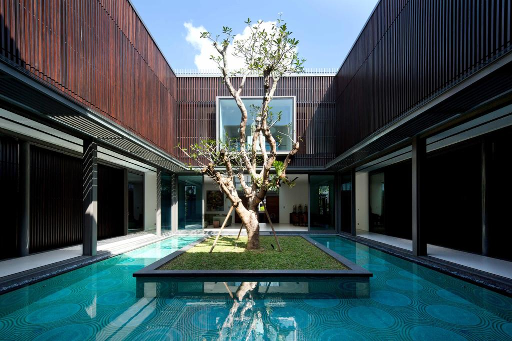 Modern, Landed, East Coast Parkway (Centennial Tree House), Architect, Wallflower Architecture + Design, Wooden Walls, Planted Tree, Tree, Floating Platform, Grass Patch, Pool, Water, Bonsai, Flora, Jar, Plant, Potted Plant, Pottery, Vase, Building, Hotel, Resort, Swimming Pool