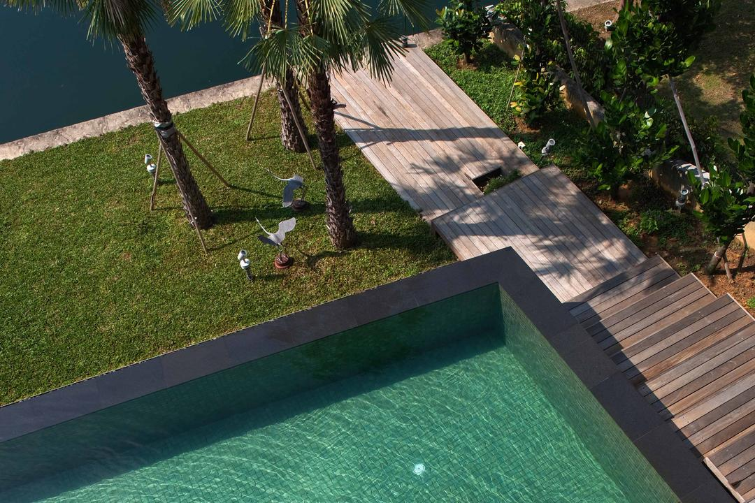 Sentosa Cove (Sun Cap House), Wallflower Architecture + Design, Modern, Landed, Indoor Pool, Private Pool, House Pool, Pool, Wooden Flooring, Wooden Step, Wooden Steps, Trees, Grass Patches, Backyard, Outdoors, Yard, Flora, Jar, Plant, Potted Plant, Pottery, Vase