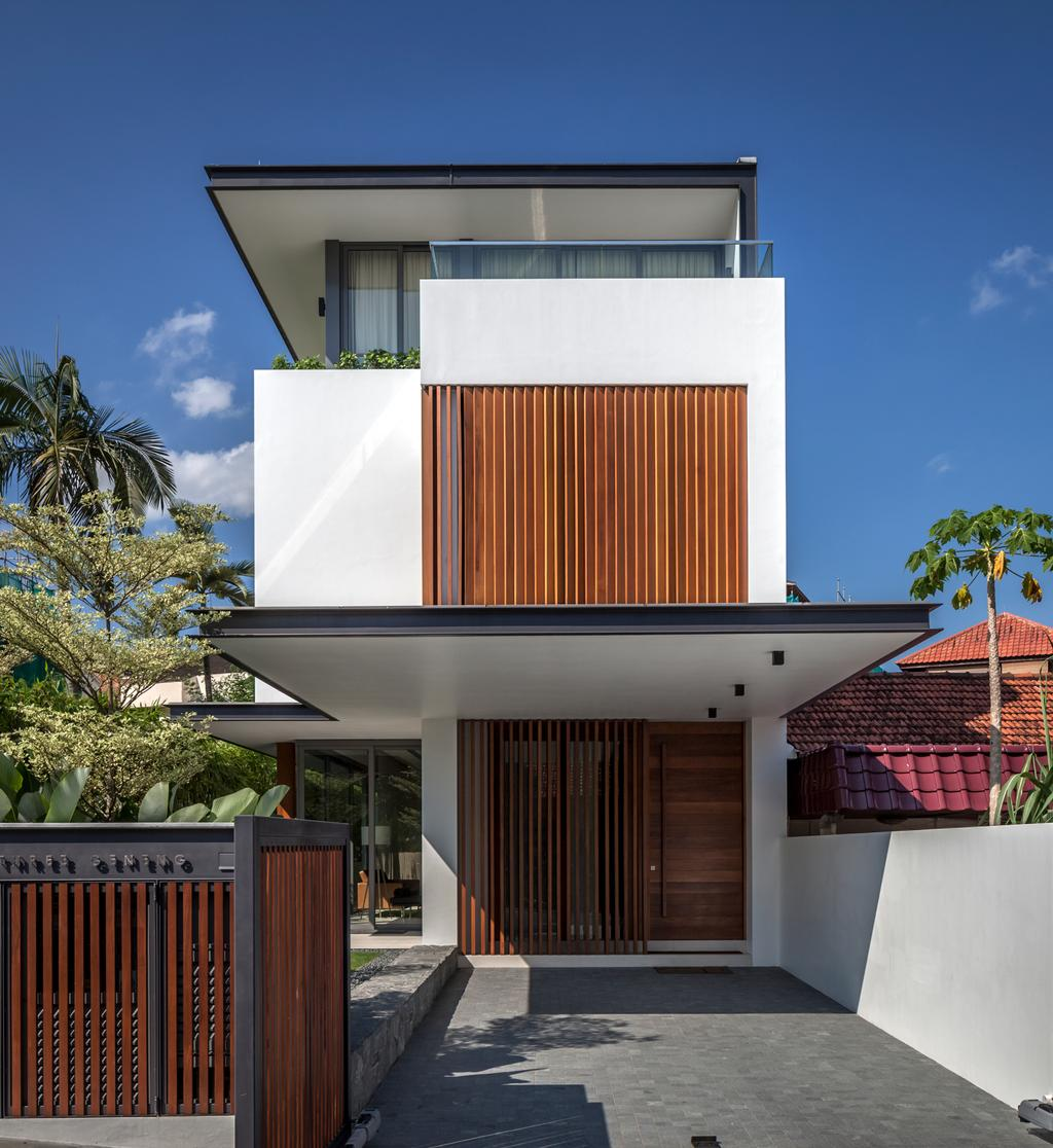 Modern, Landed, Serangoon (Sunny Side House), Architect, Wallflower Architecture + Design, Exterior View, Exterior, Wooden Gates, Wooden Gate Doo, Gate Doors, Building Shelter, Wooden, Roof, Tile Roof, Arecaceae, Flora, Palm Tree, Plant, Tree, Building, House, Housing, Villa