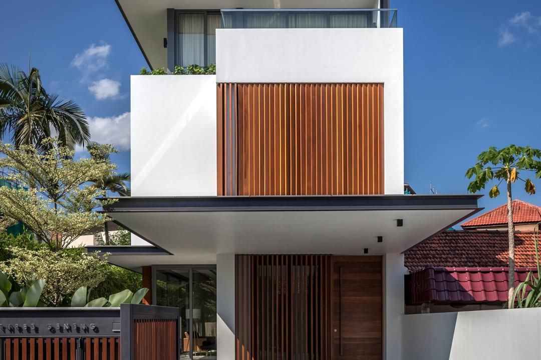 Serangoon (Sunny Side House), Wallflower Architecture + Design, Modern, Landed, Exterior View, Exterior, Wooden Gates, Wooden Gate Doo, Gate Doors, Building Shelter, Wooden, Roof, Tile Roof, Arecaceae, Flora, Palm Tree, Plant, Tree, Building, House, Housing, Villa
