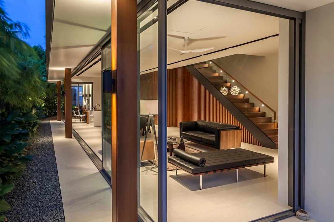 Serangoon (Sunny Side House), Wallflower Architecture + Design, Modern, Landed, Pebble Trail, Rug, Brown Rug, Wooden Beams