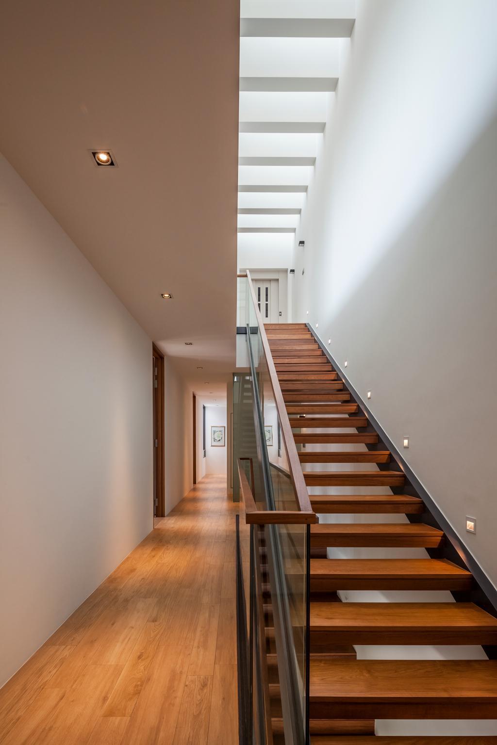 Modern, Landed, Serangoon (Sunny Side House), Architect, Wallflower Architecture + Design, Stairway Light, Wooden Flooring, Laminate Flooring, Glass Railing, Recessed Lights, Wooden Steps, Stairway, Steps, Banister, Handrail, Staircase, HDB, Building, Housing, Indoors, Loft