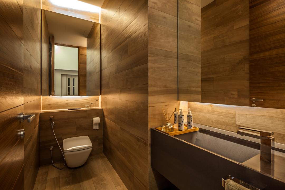 Serangoon (Sunny Side House), Wallflower Architecture + Design, Modern, Bathroom, Landed, Brown Flooring, Wooden Flooring, Brown Wall, Lighting, Brown Cabinets, Indoors, Interior Design, Room, Toilet, Sink