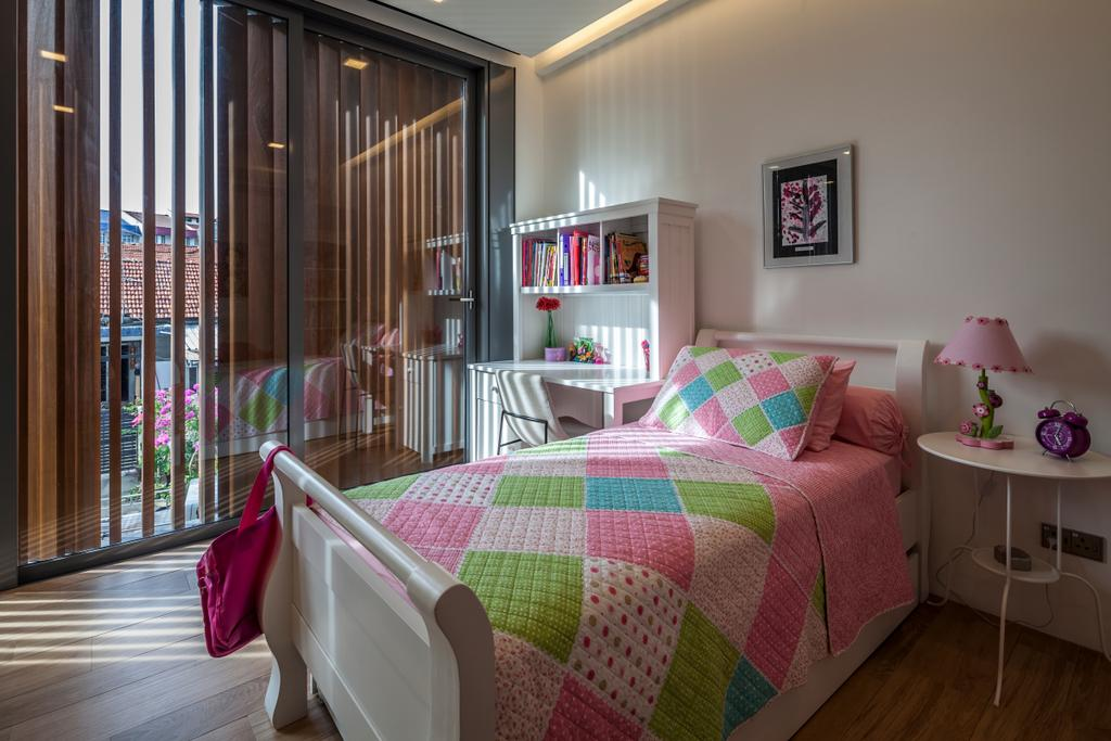 Modern, Landed, Bedroom, Serangoon (Sunny Side House), Architect, Wallflower Architecture + Design, Concealed Lights, Wooden Flooring, White Shelf, Open Shelf, Wall Portrait, Table Side Table, White Table, Glass Walls, Indoors, Interior Design, Room