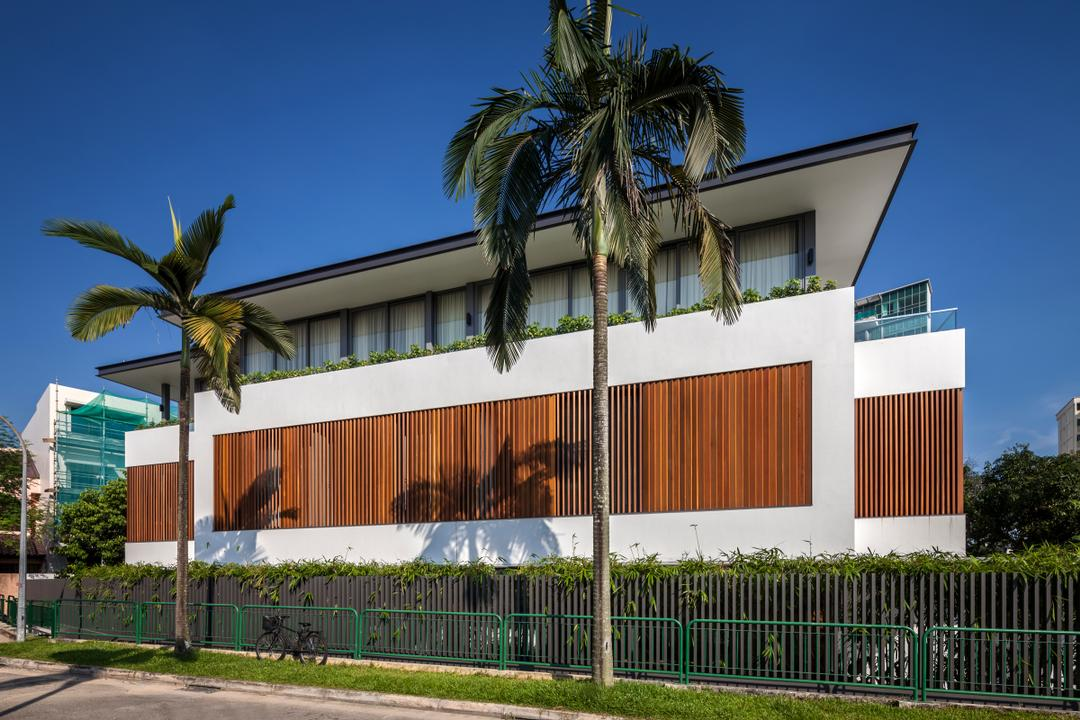 Serangoon (Sunny Side House), Wallflower Architecture + Design, Modern, Landed, Trees, Exterior, White Brown Walls, Wooden Patterned Walls, Building, House, Housing, Villa, Arecaceae, Flora, Palm Tree, Plant, Tree, Shipping Container