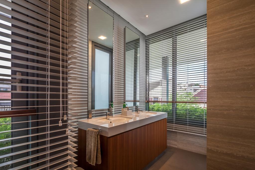 Modern, Landed, Bathroom, Serangoon (Sunny Side House), Architect, Wallflower Architecture + Design, Ceiling Lights, Blinds, White Sink Top, Brown Cabinet