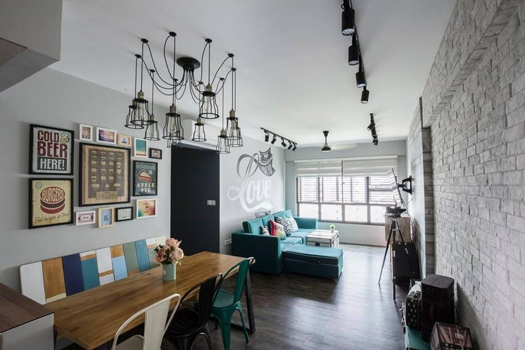 Eclectic, HDB, Dining Room, Yishun Street 31, Interior Designer, 9 Creation, Hanging Lights, Pendant Lights, Brick Wall, Track Lights, Dining Table, Wooden Table, Colorful Bench, Wall Portraits, Wall Art, Luggage, Suitcase, Building, Housing, Indoors, Loft, Furniture, Table, Chair