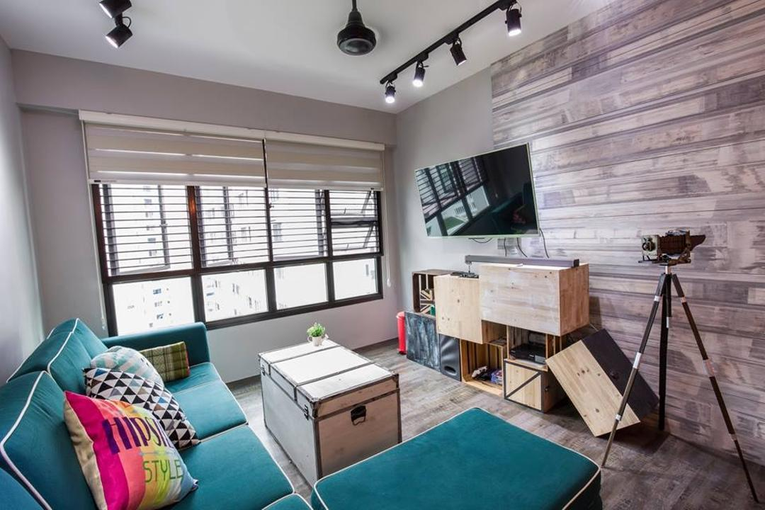 Yishun Street 31, 9 Creation, Eclectic, Living Room, HDB, Blinds, L Shaped Sofa, Blue Sofa, Flatscreen Tv, Colorful Cushions, Coffee Table, Camera Stand, Camera, Decor, Wooden Flooring, Feature Wall, Modern Contemporary Living Room, Tripod