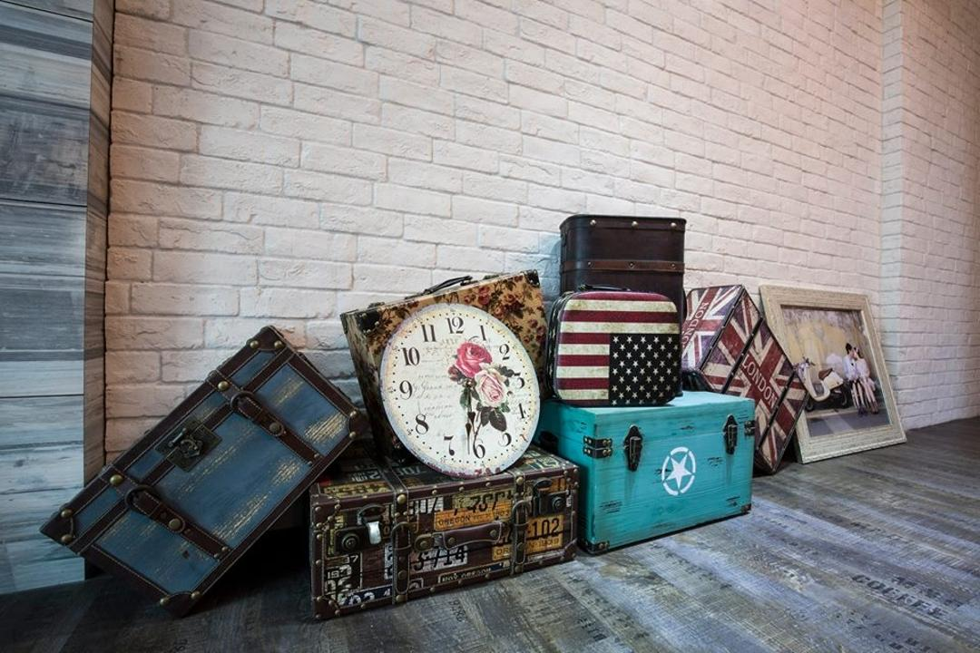 Yishun Street 31, 9 Creation, Eclectic, Living Room, HDB, Brick Wall, Wooden Floorin, White Brick Wall, White, Vintage Suitcases, Suitcases, Suitcase Boxes, Decor, Clock, Wristwatch