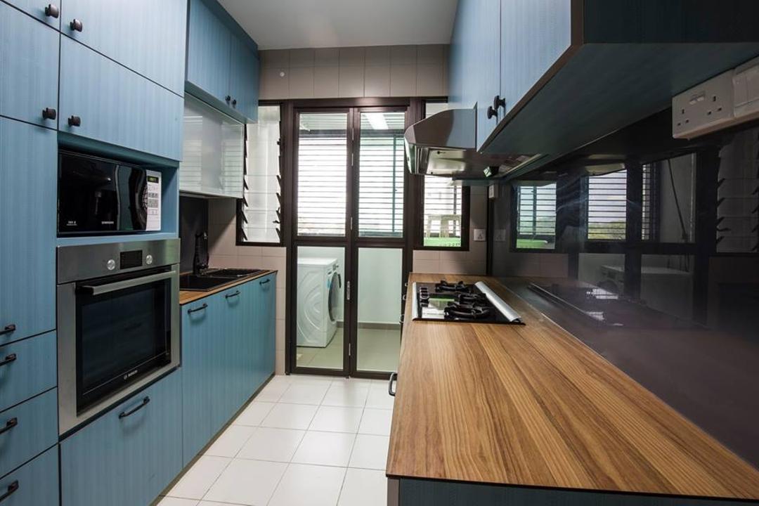 Yishun Street 31, 9 Creation, Eclectic, Kitchen, HDB, Blue Cabinets, Wooden Kitchen Top, Tinted Backsplash, Appliance, Electrical Device, Oven, Flooring, Building, Housing, Indoors, Loft, Door, Sliding Door