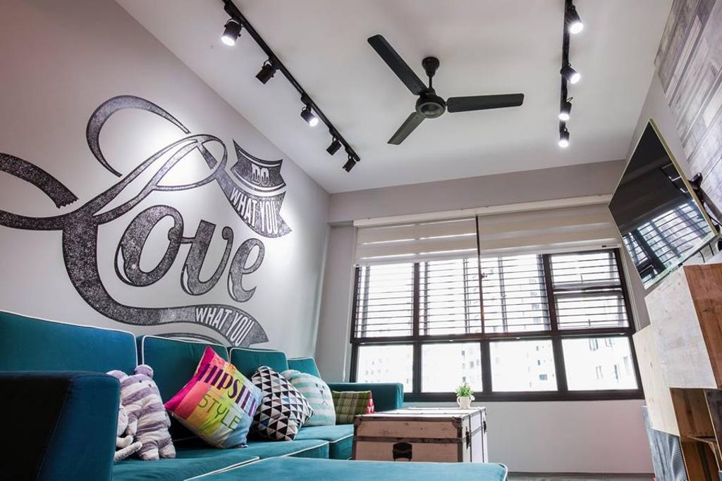 Eclectic, HDB, Living Room, Yishun Street 31, Interior Designer, 9 Creation, Track Lights, Ceiling Fan, Black Ceiling Fan, L Shaped Sofa, Blue Sofa, Wallart, Wall Design, Blinds, Coffee Table, Colorful Cushions, Cushions, Couch, Furniture, Chair, Building, Housing, Indoors, Loft