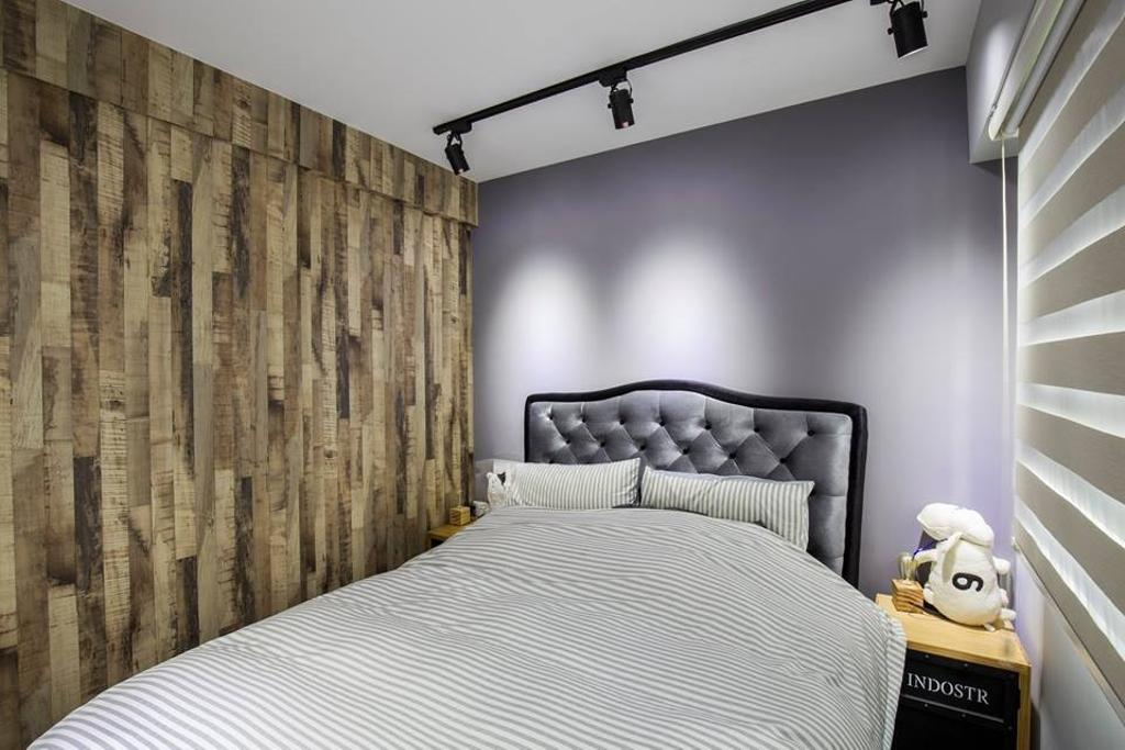 Eclectic, HDB, Bedroom, Yishun Street 31, Interior Designer, 9 Creation, Track Lights, Cushioned Headboard, Bedside Table, Wooden Partition, Partition, Wooden Wall, Indoors, Interior Design, Room, Curtain, Home Decor, Window, Window Shade, Furniture, Studio Couch