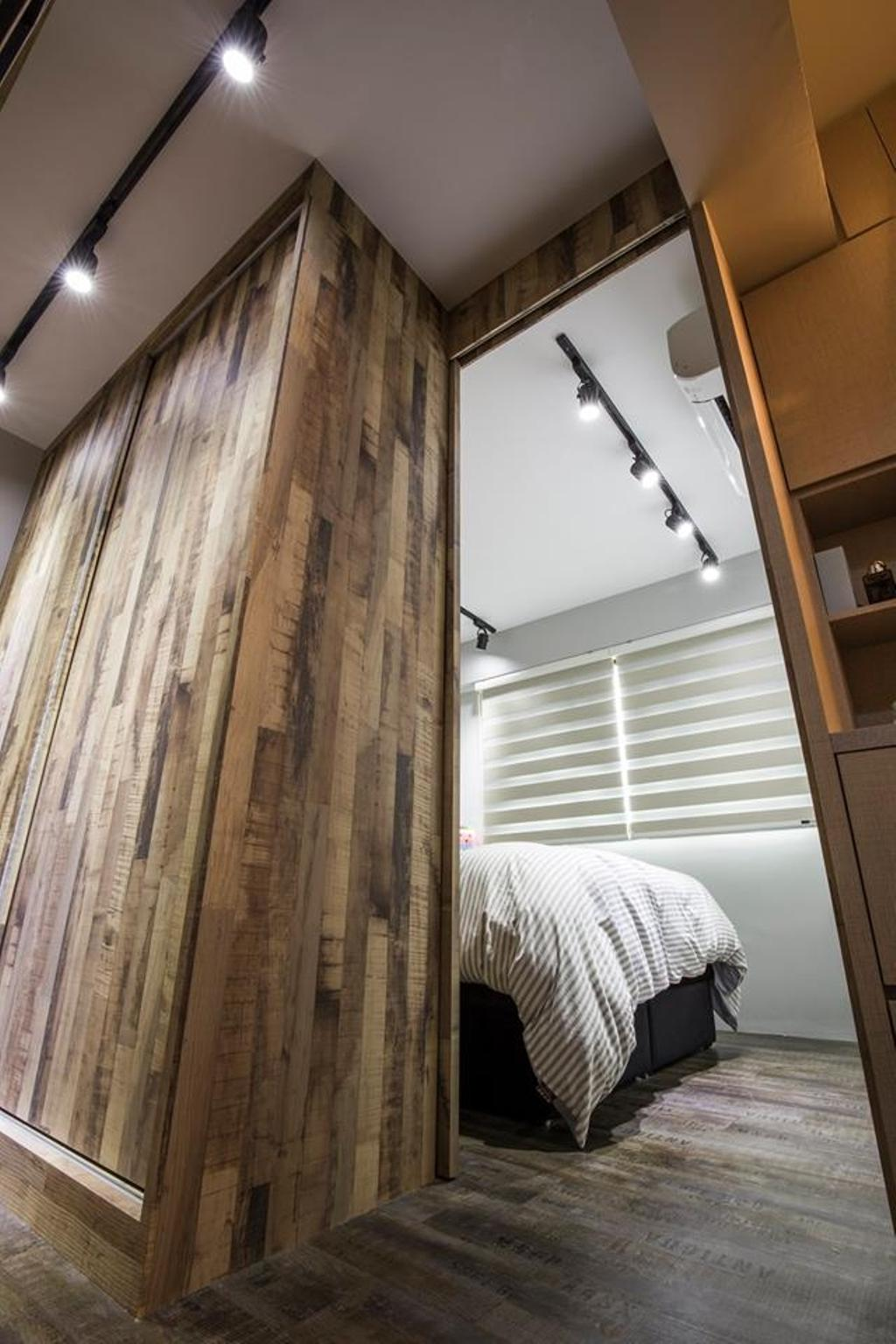 Eclectic, HDB, Bedroom, Yishun Street 31, Interior Designer, 9 Creation, Track Lights, Wooden Cupboard, Wooden Flooring, Wooden Laminate, Laminate, Curtain, Home Decor
