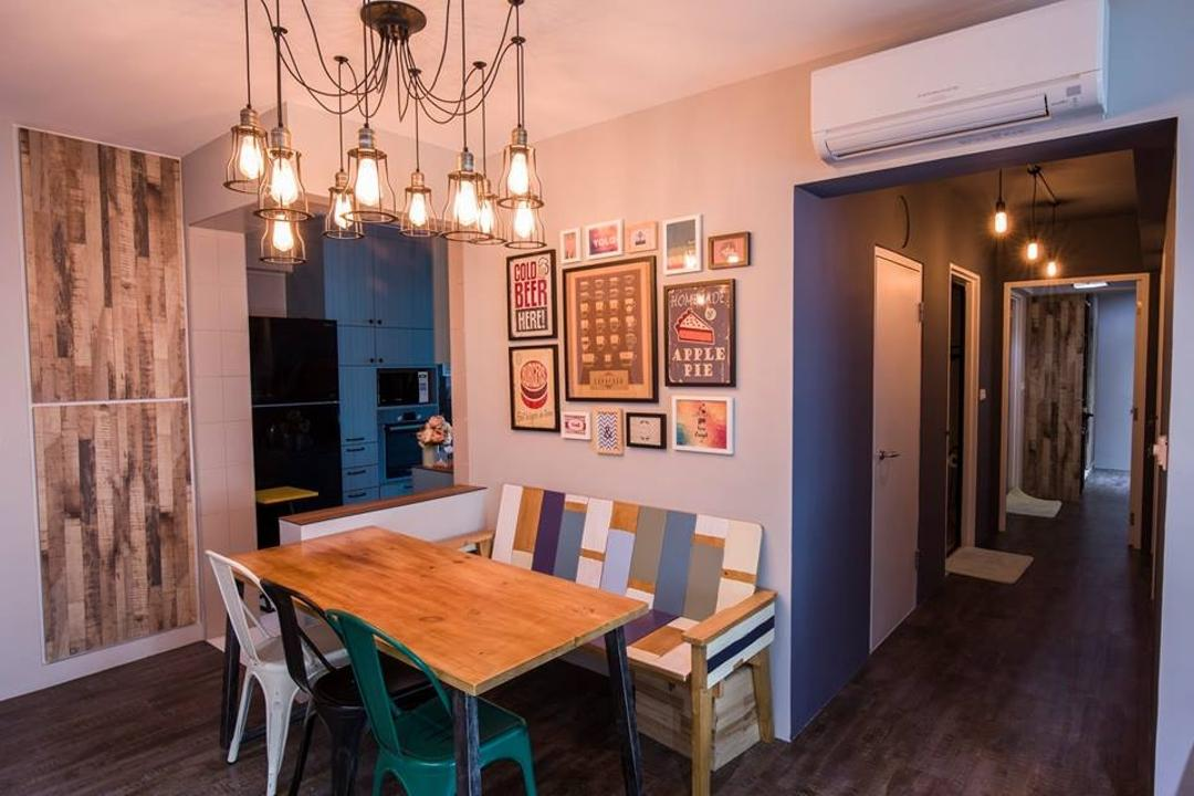 Yishun Street 31, 9 Creation, Eclectic, Dining Room, HDB, Hanging Lights, Pendant Lights, Warm Lighting, Wall Art, Wall Portrait, Wooden Dining Table, Wooden Tabl, Dining Chairs, Colorful Bench, Dining Table, Furniture, Table, Indoors, Interior Design, Room, Chair, Hardwood, Wood, Corridor