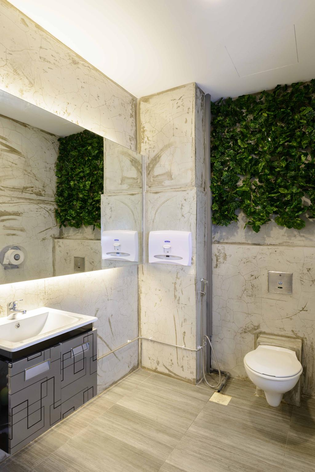 Harission Road, Commercial, Interior Designer, Starry Homestead, Scandinavian, Bathroom, Laminate Flooring, Wooden Laminate, Light Wood, Wall Plants, Mirror, White Sink, Wall Mounted Sink, Sink, Flora, Ivy, Plant, Conifer, Tree, Yew, Wall