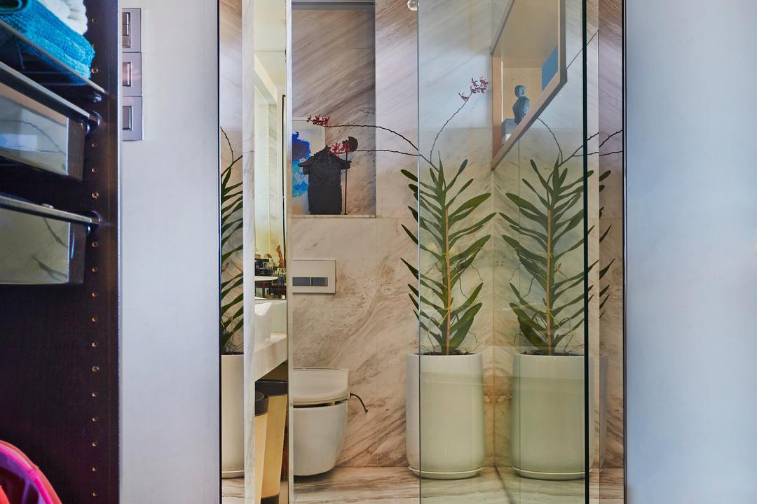 Kim Keat Road, Bowerman, Vintage, Modern, Transitional, Bathroom, HDB, Chandelier, Wooden Floor, Glass Door, Classy, Resort Theme, Flora, Jar, Plant, Potted Plant, Pottery, Vase, Door, Sliding Door