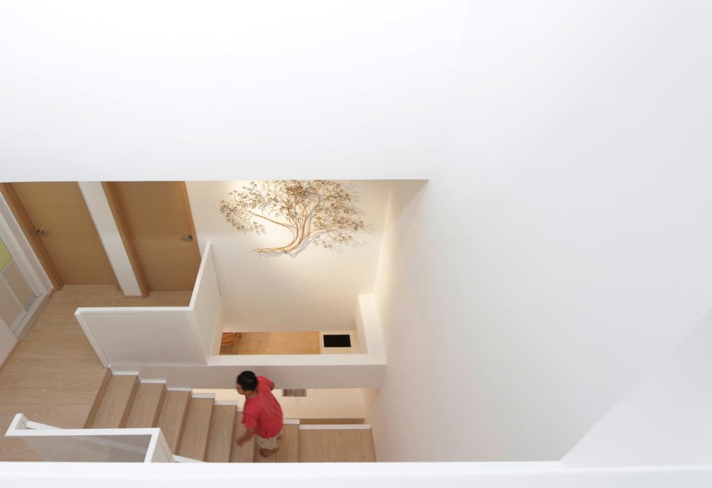Minimalistic, Landed, Lentor Green, Architect, EHKA Studio, Molding, Banister, Handrail, Staircase, Indoors, Interior Design