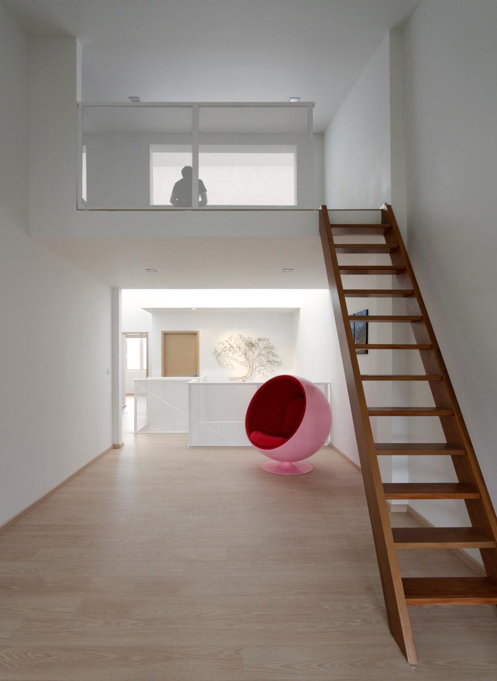 Minimalistic, Landed, Lentor Green, Architect, EHKA Studio, Banister, Handrail, Staircase, Hardwood, Wood, Chair, Furniture