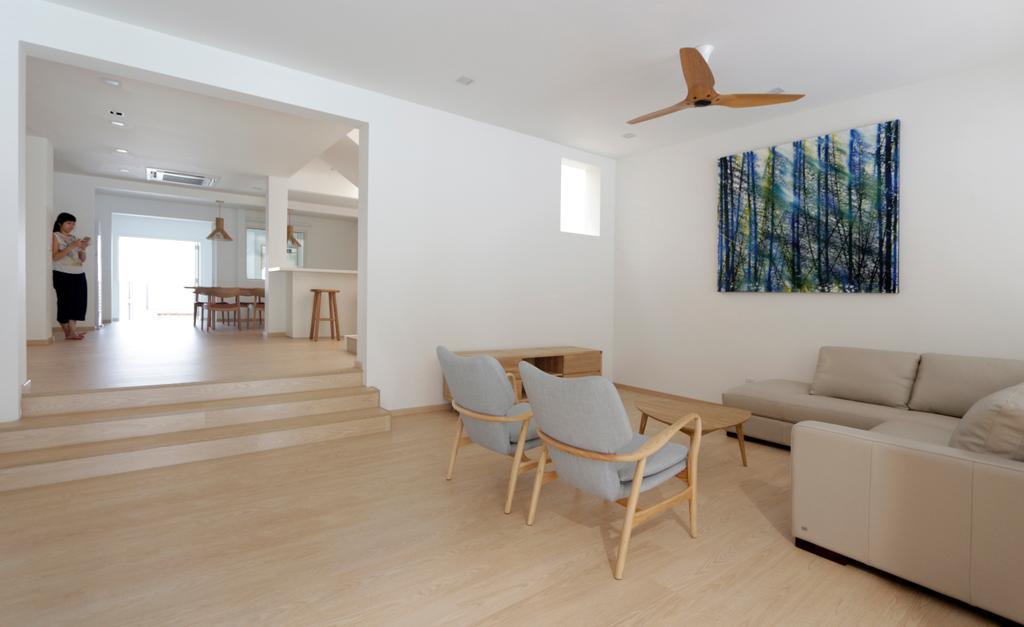 Minimalist, Landed, Living Room, Lentor Green, Architect, EHKA Studio, Chair, Furniture, Molding, Plywood, Wood, HDB, Building, Housing, Indoors, Loft