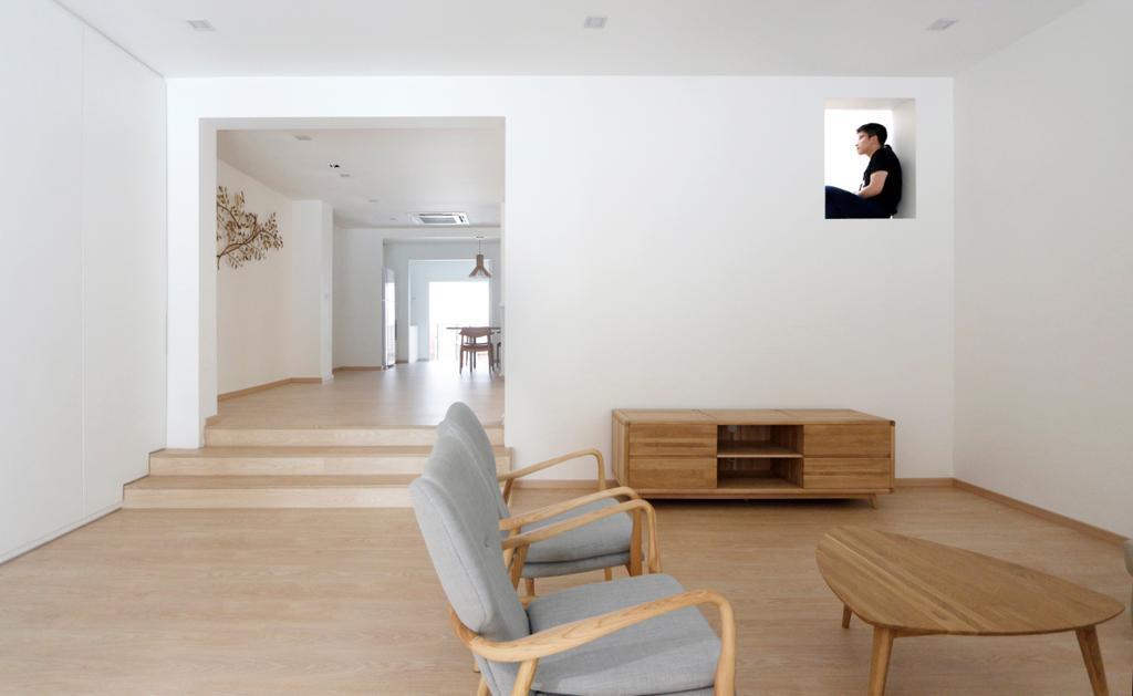 Minimalist, Landed, Living Room, Lentor Green, Architect, EHKA Studio, Chair, Furniture, Molding, Plywood, Wood