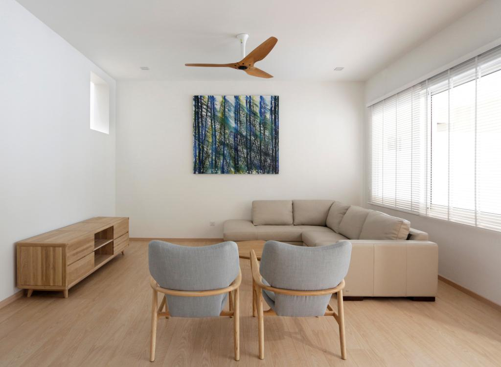 Minimalistic, Landed, Living Room, Lentor Green, Architect, EHKA Studio, Modern Contemporary Living Room, Wooden Floor, Sectional Sofa, Wooden Console, Roll Down Curtain, Ceiling Fan, Couch, Furniture, Chair, Sideboard, Indoors, Room