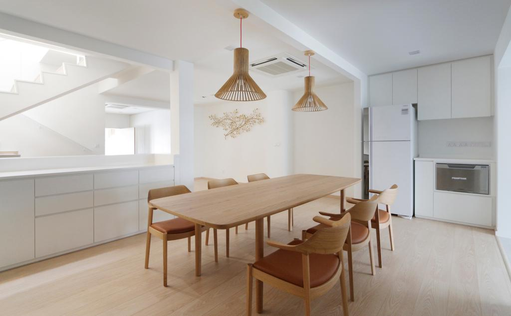 Minimalistic, Landed, Dining Room, Lentor Green, Architect, EHKA Studio, Dining Table, Furniture, Table, Chair, Indoors, Interior Design, Room, Lamp, Lampshade