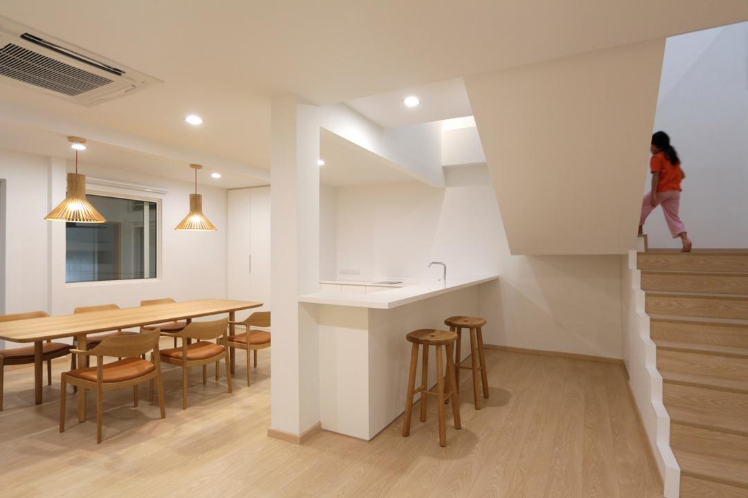 Lentor Green, EHKA Studio, Minimalistic, Dining Room, Landed, Modern Contemporary Dining Room, Wooden Floor, White Countertop, Wooden Dining Table, Wooden Dining Chair, Recessed Lights, , Hanging Lights, Dining Table, Furniture, Table, Bar Stool, HDB, Building, Housing, Indoors, Loft