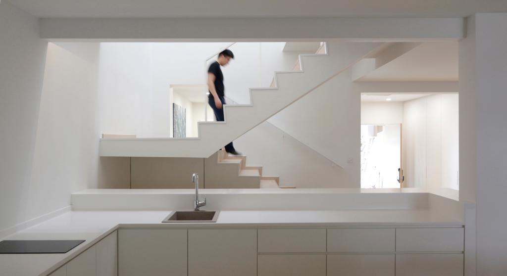 Minimalist, Landed, Kitchen, Lentor Green, Architect, EHKA Studio, White Kitchen Cabinet, White Kitchen Cupboard, White Laminated Top